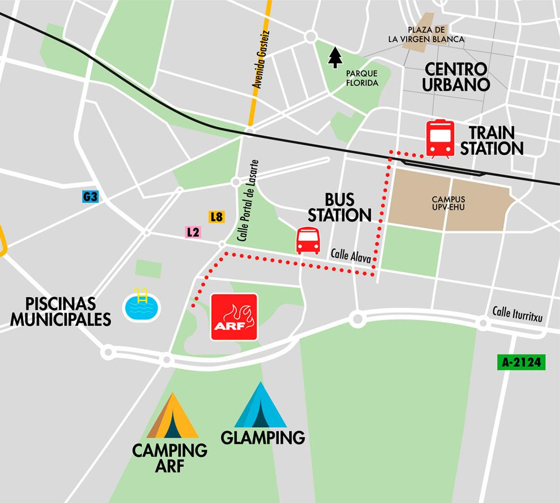 Mapa cómo llegar Azkena Rock Festival