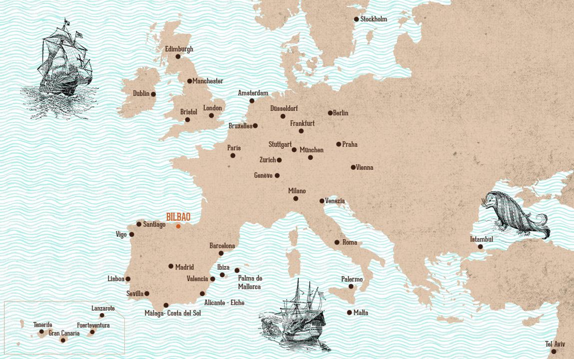 Mapa vuelos a Bilbao Azkena Rock Festival Spain