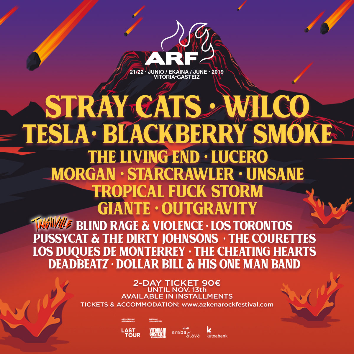 Azkena Rock Festival 2019. Tropical Fuck Storm, Tesla, Unsane, Blackberry Smoke, Stray Cats, Starcrawler... - Página 2 CARTEL_ARF19